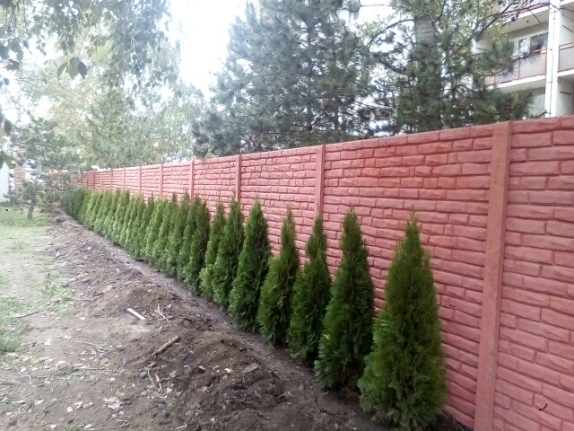 Cihlově zbarvený oboustranný betonový plot
