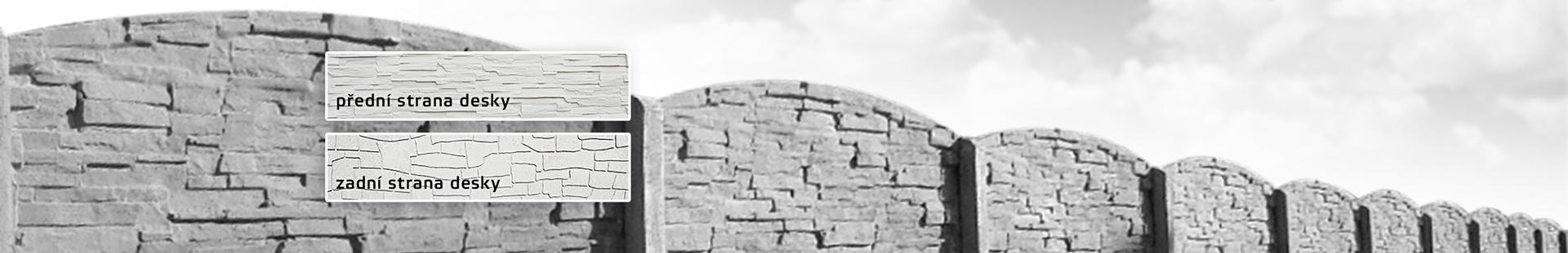 Oboustranné betonové ploty vrůzných dekorech betonu a potisku betonové desky